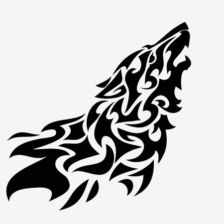 Tribal wolf head tattoo. Abstract black and white vector illustration