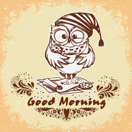 Good morning. Hand drawn owl with cup of coffee. Inspirational morning poster for cafe menu, prints, mugs, banners. Vector  Ilustração