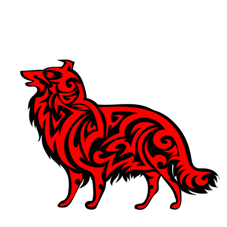 Vector pet Dog signage , icon, print isolated on white background. Year of dog symbol 2018. Abstract black and red dog silhouette