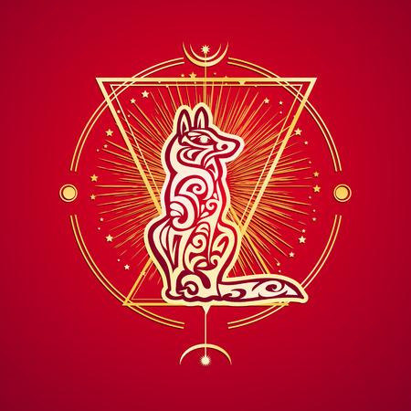 Hondenjaar Chinese Zodiac esoterisch symbool 2018. Etnische tribale astrologie print voor t-shirt, tas, briefkaart en bewegwijzering. Tattoo ontwerp