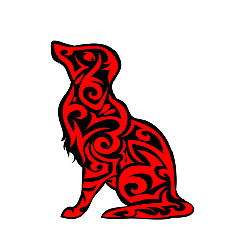 Vector pet Dog signage, icon, print isolated on white background. Year of dog symbol 2018. Abstract black and red dog silhouette Illustration