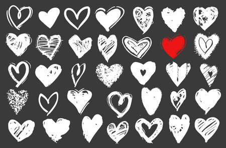 Hearts vector set. Hand drawn doodle icons or design elements for Valentines day and wedding.