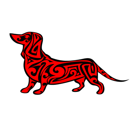Vector huisdier hond bewegwijzering, pictogram, afdrukken geïsoleerd op een witte achtergrond. Jaar van hond symbool 2018. Abstracte zwarte en rode hond silhouet