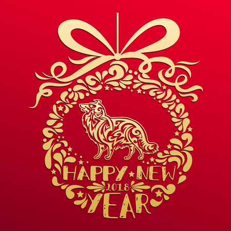 Happy new year 2018. Chinese oriental zodiac symbol Dog with Christmas ball and text. Year of Dog greeting card, print and poster. Gold collie dog silhouette