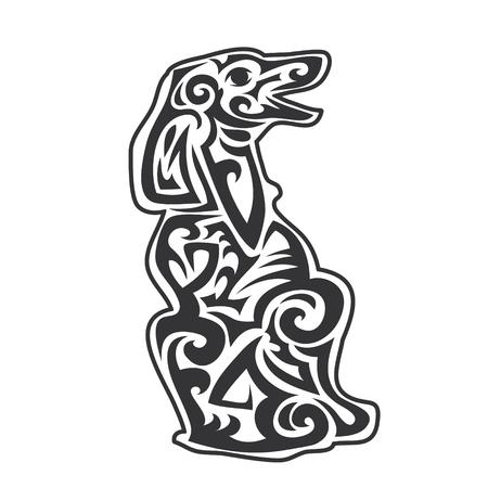 Vector huisdier hond bewegwijzering, pictogram, afdrukken geïsoleerd op een witte achtergrond. Jaar van hond symbool 2018. Abstracte hond silhouet Stock Illustratie