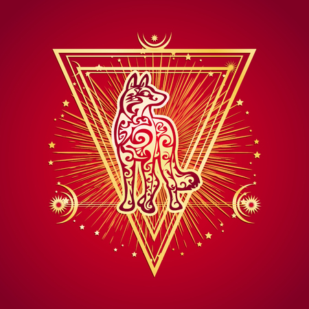 Dog year Chinese Zodiac esoteric symbol 2018. Ethnic tribal astrology print For t-shirt, bag, postcard,and signage. Tattoo design Illustration