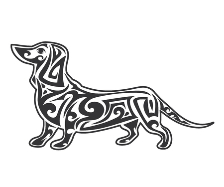 Vector pet Dog signage, icon, print isolated on white background. Year of dog symbol 2018. Abstract dog silhouette
