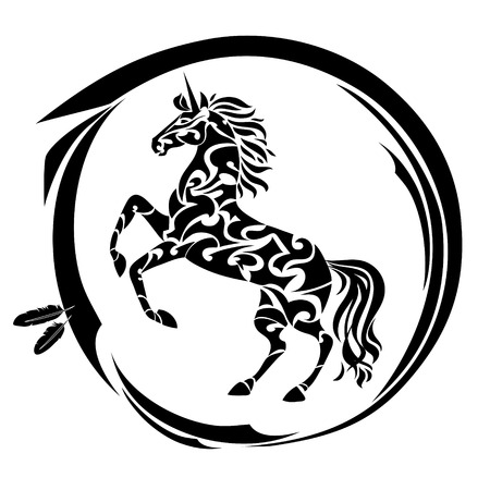 Magic unicorn silhouette. Ethnic design tattoo. Fantasy mythology print for T-shirt and bags.