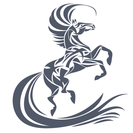 Vector silhouet van paard. Gestileerde illustratie voor het ontwerp van een t-shirt, tas, briefkaart, tatoeage en bewegwijzering.
