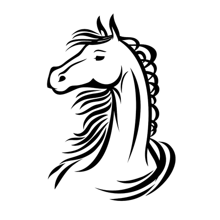 Horse, hand drawn vector stylized illustration for tattoo, signage, t-shirt and bags design. Çizim