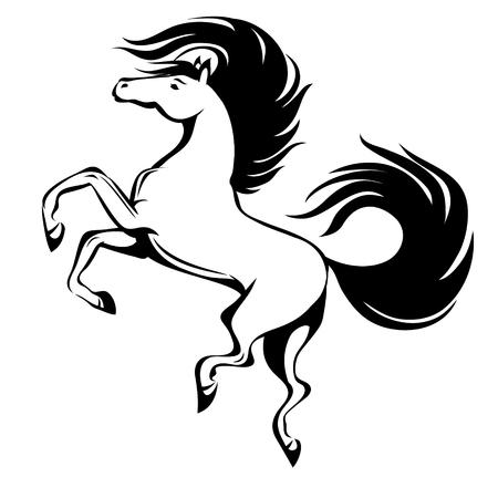 Paard, hand getrokken vector gestileerde illustratie voor tattoo, logo, t-shirt en tassen ontwerp. Geïsoleerd Stock Illustratie