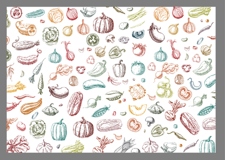 Background with Vegetables.Templates for label design with hand drawn linear vegetables. Can be used for vegan products, brochures, banner, restaurant menu, farmers market and organic food store Ilustrace