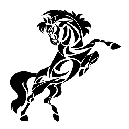 Vector silhouette of horse. Stylized illustration for design of a t-shirt, bag, postcard, tattoo and signage.