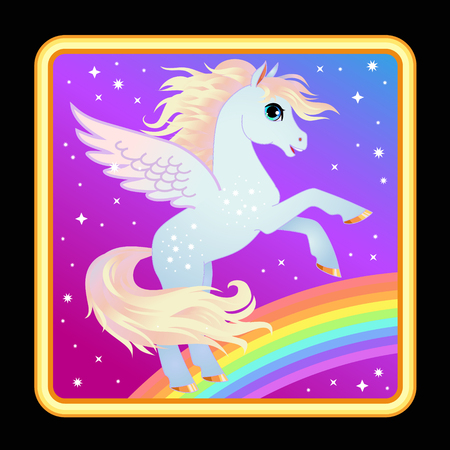 Cute pony with wings game app icon. Vector cartoon character Pegasus on a rainbow. Girl print, card or poster. Children background