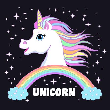 Unicorn head portrait vector illustration. Magic fantasy horse design for children t-shirt and bags. Childish character White unicorn with rainbow hair