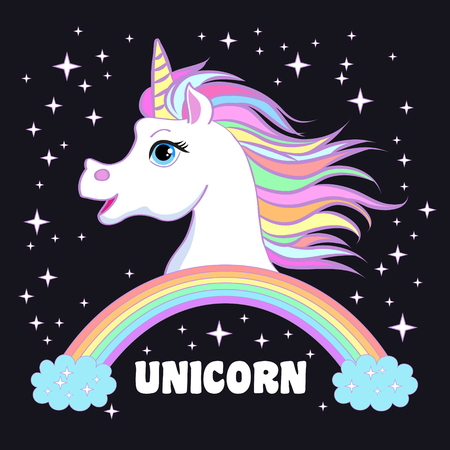 Unicorn head portrait vector illustration. Magic fantasy horse design for children t-shirt and bags. Childish character White unicorn with rainbow hair
