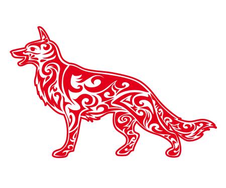 Rode hond silhouet. Chinese dierenriem dieren symbool van het nieuwe jaar 2018. Geïsoleerd op wit Stock Illustratie