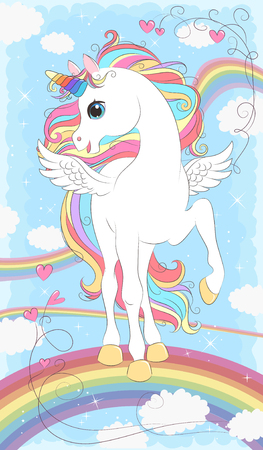 White Unicorn with wings and Rainbow hair. Vector illustration for children design. Beautiful fantasy cartoon animal Vectores