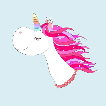 White girl Unicorn face with Pink hair and stars. Vector illustration for children design. Beautiful fantasy cartoon animal