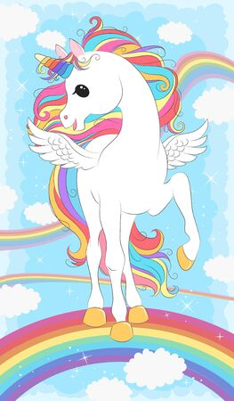 White Unicorn with wings and Rainbow  hair. Vector illustration for children design. Beautiful fantasy cartoon animal