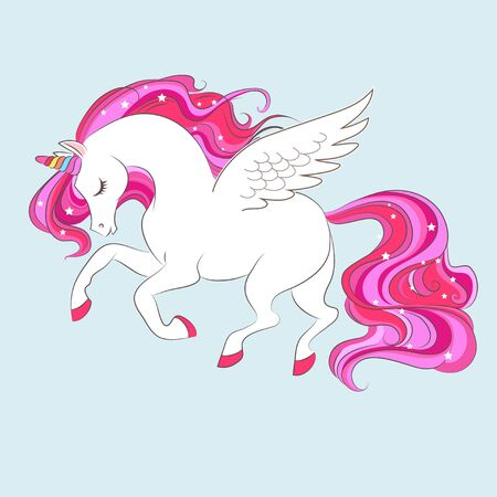 White girl Unicorn with Pink hair and stars. Vector illustration for children design. Beautiful fantasy cartoon animal 矢量图像
