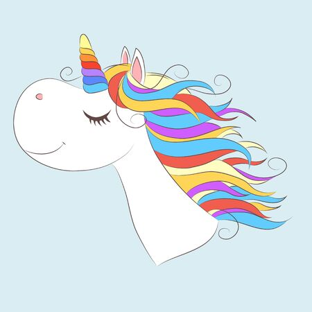 White girl Unicorn with Rainbow  hair. Vector illustration for children design. Beautiful fantasy cartoon animal 矢量图像