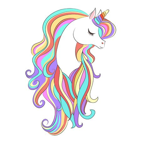 Cute White Unicorn with rainbow hair vector illustration for children design. Sweet fantasy character for t-shirts and cards