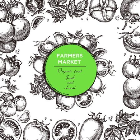 Template for label design with hand drawn linear tomato vegetables. Can be used for brochures, banner, restaurant menu, farmers market and organic food store