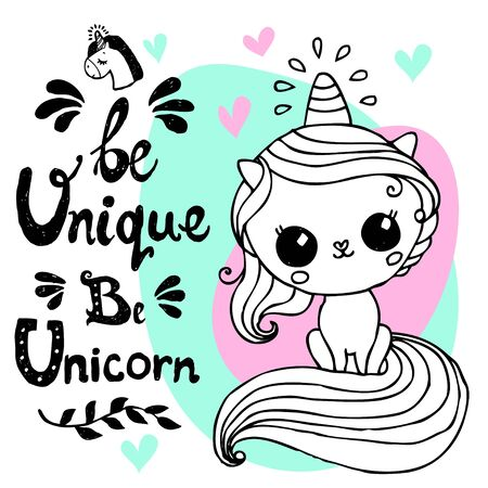 Unicorn cute character with hand written lettering - Be Unique Be Unicorn - for  postcard, print, card, invitation, flyer. Vector illustration Illustration