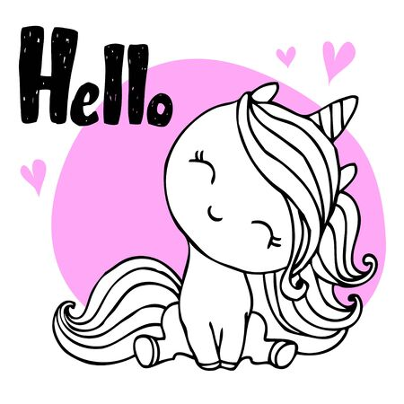 Unicorn cute character with hand drawn ink  lettering - Hello - for  postcard, print, card, invitation, flyer. Vector illustration