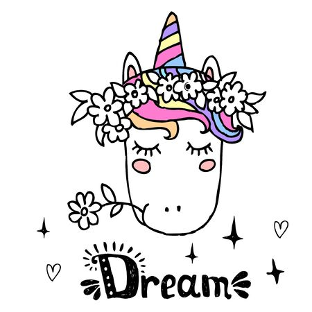 Unicorn cute character with hand written lettering for  postcard, print, card, invitation, flyer. Vector illustration