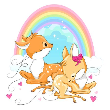 Cute baby deers with rainbow and pink hearts. Hand drawn vector cartoon  illustration for baby t-shirt design, fashion print, velentines day card, design element for children's