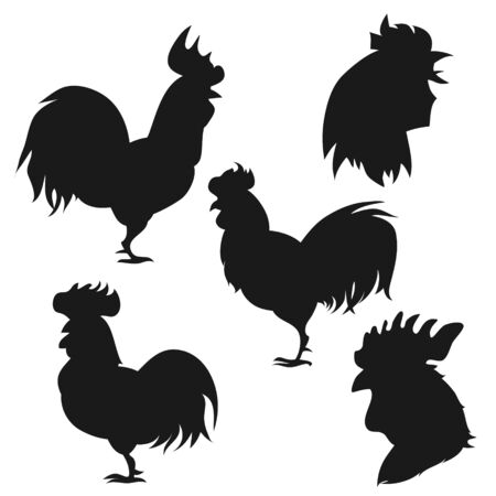 roosters. Vector set of cock. New Year symbol 2017 - rooster. Element for , label, print, calendar and Happy ney year card.