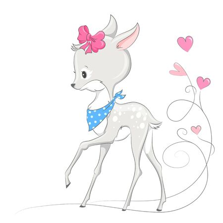 Animal illustration cute little deer. Can be used for children's posters, cards,  baby t-shirt and bags  print
