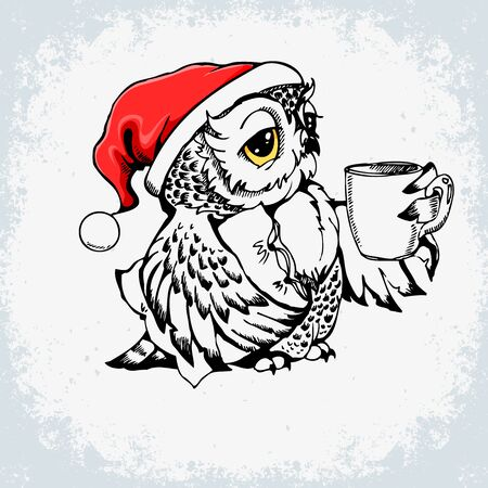 Owl Santa Claus Christmas poster with grunge texture. Can be used for kids print on t-shirts, bags, celebration greeting and invitation card