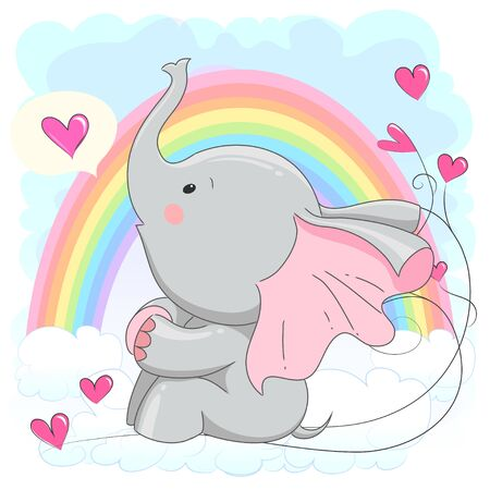 Cute baby elephant with hearts. vector cartoon illustration. It can be used for baby t-shirt design, fashion print, velentines day card, poster, design element for children's clothes