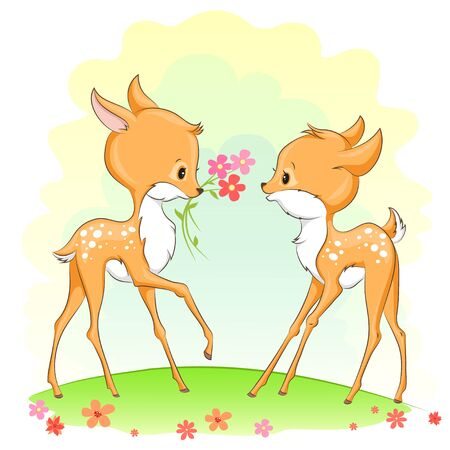 Cute baby deers with flowers. Hand drawn vector cartoon  illustration. It can be used for baby t-shirt design, fashion print, greeting card, poster, design element for children's clothes