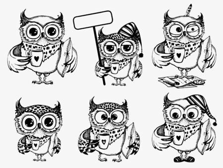 Hand drawn sleepy owls  with cup of coffee, funny character set, Inspirational morning collection for cafe menu, prints, mugs, banners. Vector illustration 版權商用圖片 - 147976966