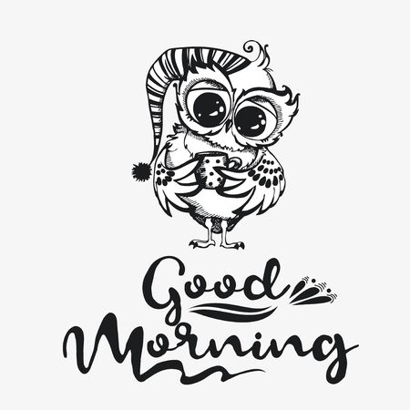 Good morning. Hand drawn owl with cup of coffee. Inspirational morning poster for cafe menu, prints, mugs, banners. Vector  向量圖像