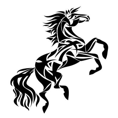 Vector silhouette of horse. Stylized illustration for design of a t-shirt, bag, postcard, tattoo . Isolated