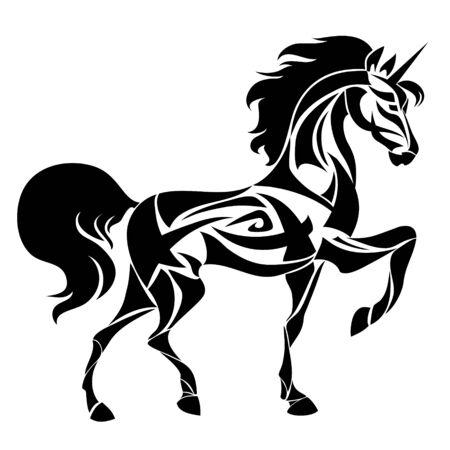Silhouette de licorne magique. Tatouage de conception ethnique. Imprimé mythologie fantastique pour T-shirt et sacs. Isolé
