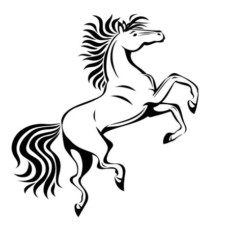 Horse,  vector stylized illustration for tattoo,t-shirt and bags design. Isolated Illustration