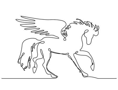 Horse one line . Vector black and white illustration , apparel print design, banner and poster.