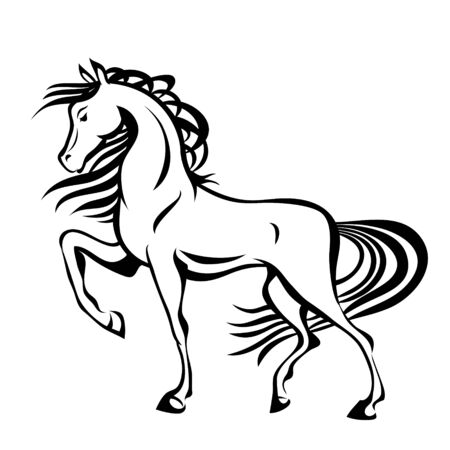 Horse, vector stylized illustration for tattoo, t-shirt and bags design. Isolated