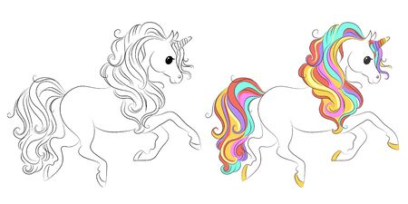 Cute cartoon unicorns. Black and white and colored vector for coloring book, unicorn print and poster