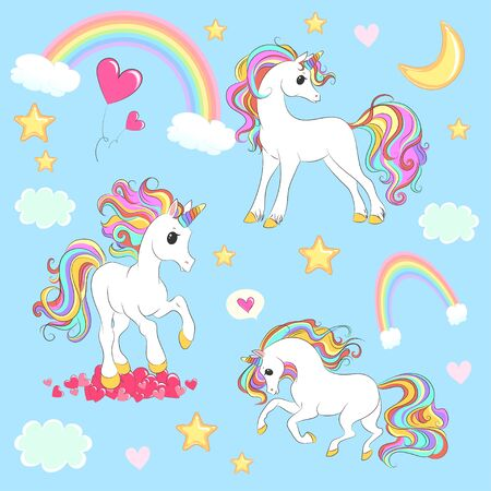Unicorn collection with magic design elements. Vector