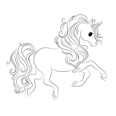 Cute unicorn. Black and white line illustration for coloring book. Vector