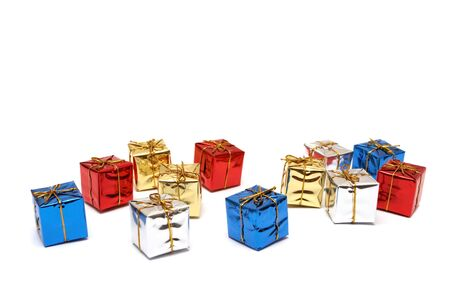 boxes with gifts on a white background photo