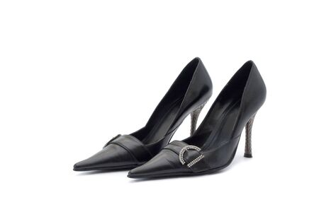 Black shoes on a white background photo