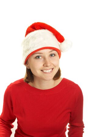 The young woman in a Santa cap  photo